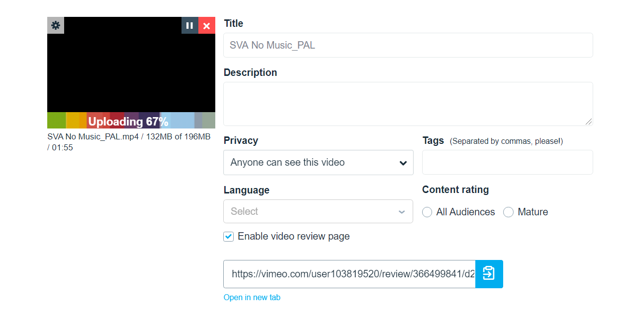 While your file is uploading, fill in other video options