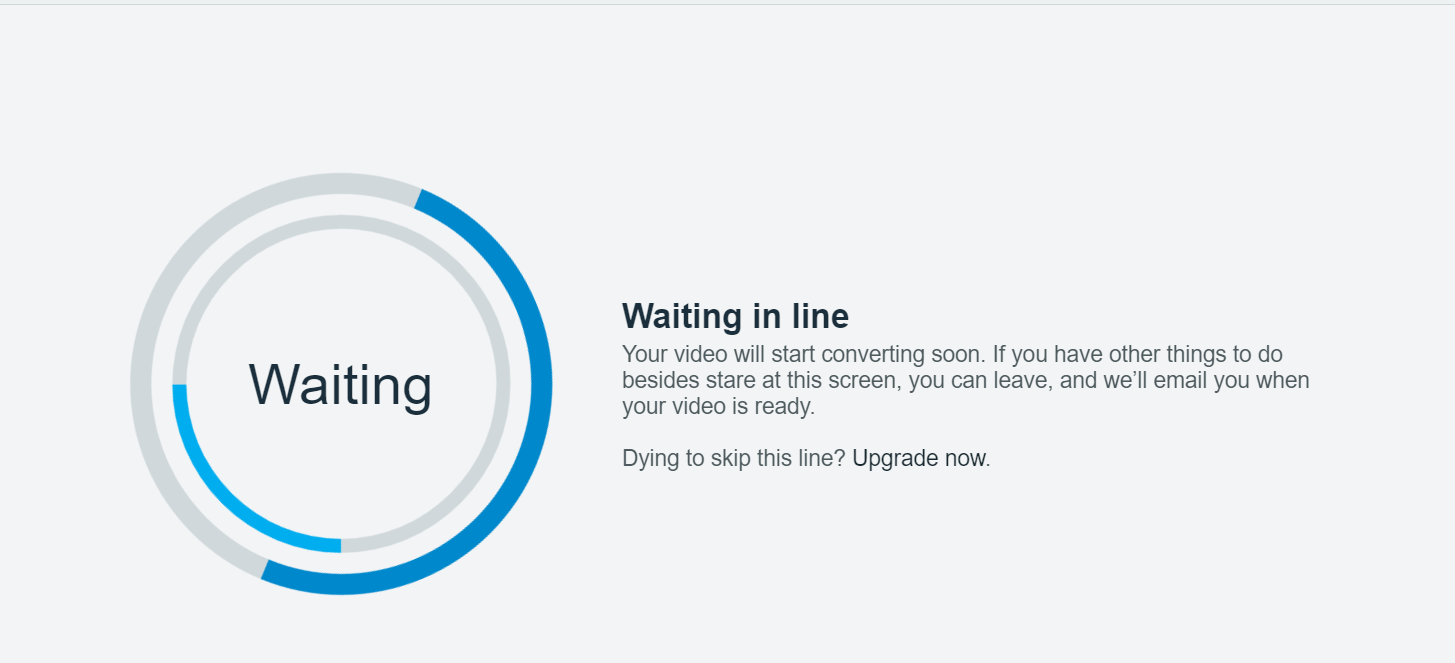Once the conversion begins, you can leave it and Vimeo will send you an email when it's complete
