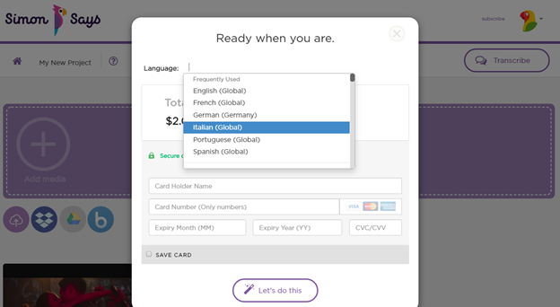 Select the original language for transcription